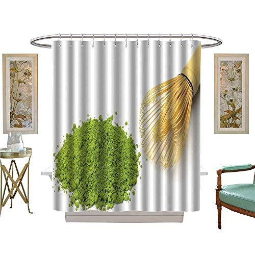 luvoluxhome Shower Curtains 3D Digital Printing Powdered Green Tea Custom Made Shower Curtain W72 x L72