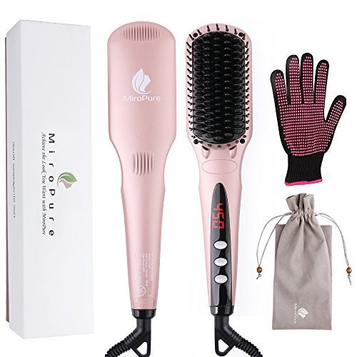 Enhanced Hair Straightener Brush by MiroPure, 2-in-1 Ionic Straightening Brush with Anti-Scald Feature, Auto Temperature Lock and Auto-off Function (Pink) by MiroPure (Image #1)