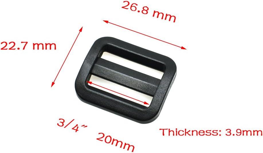 20pcs Plastic Slider Tri Glide Adjustable Buckles Webbing Size 25mm Black