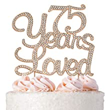 Premium Metal 75 Years Loved Rhinestone Gem Cake Topper. Perfect 75th Birthday Party Keepsake and Decoration. Sparkling, Crystal and Diamond Style Bling Makes a Great Centerpiece. (75 Rose Gold)