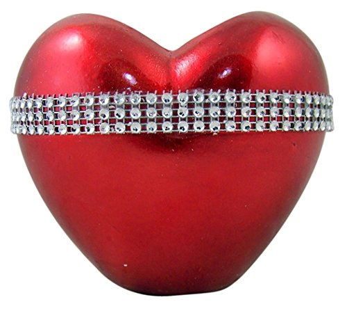 Burton & Burton Metallic Red Puff Heart Shape Resin Vase with Rhinestone Band, 4 3/4 Inch ()