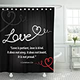TOMPOP Shower Curtain Christian Love with White Abstract Heart on Black Is Patient Kind It Does Not Envy Boast Proud 1 Waterproof Polyester Fabric 72 x 72 inches Set with Hooks