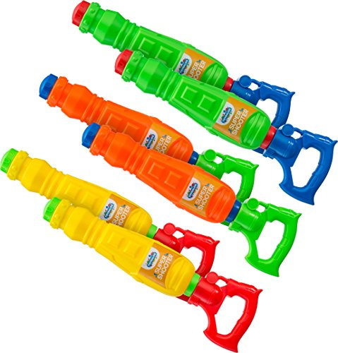 Kids Water Guns Super Soakers 6 Pack |Assorted BPA Free Plastic Multicolor Water Cannon Blasters Beach Toy | Swimming Pool | Bath Tub | Backyards | Camping | BBQ - Outdoor | Indoor ()