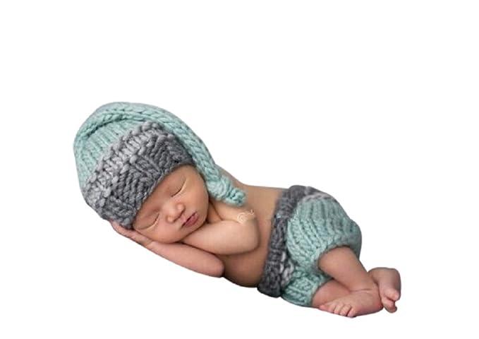 Kleidung, Schuhe & Accessoires Baby Fotos Häkelkostüm Strick Newborn Fotoshooting Häkel Mütze Hose Blau Beige