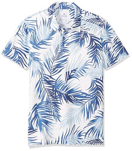 (28 Palms Men's Standard-Fit Performance Cotton Tropical Print Pique Golf Polo Shirt, Navy/Light Blue Palm Leaves, Large)