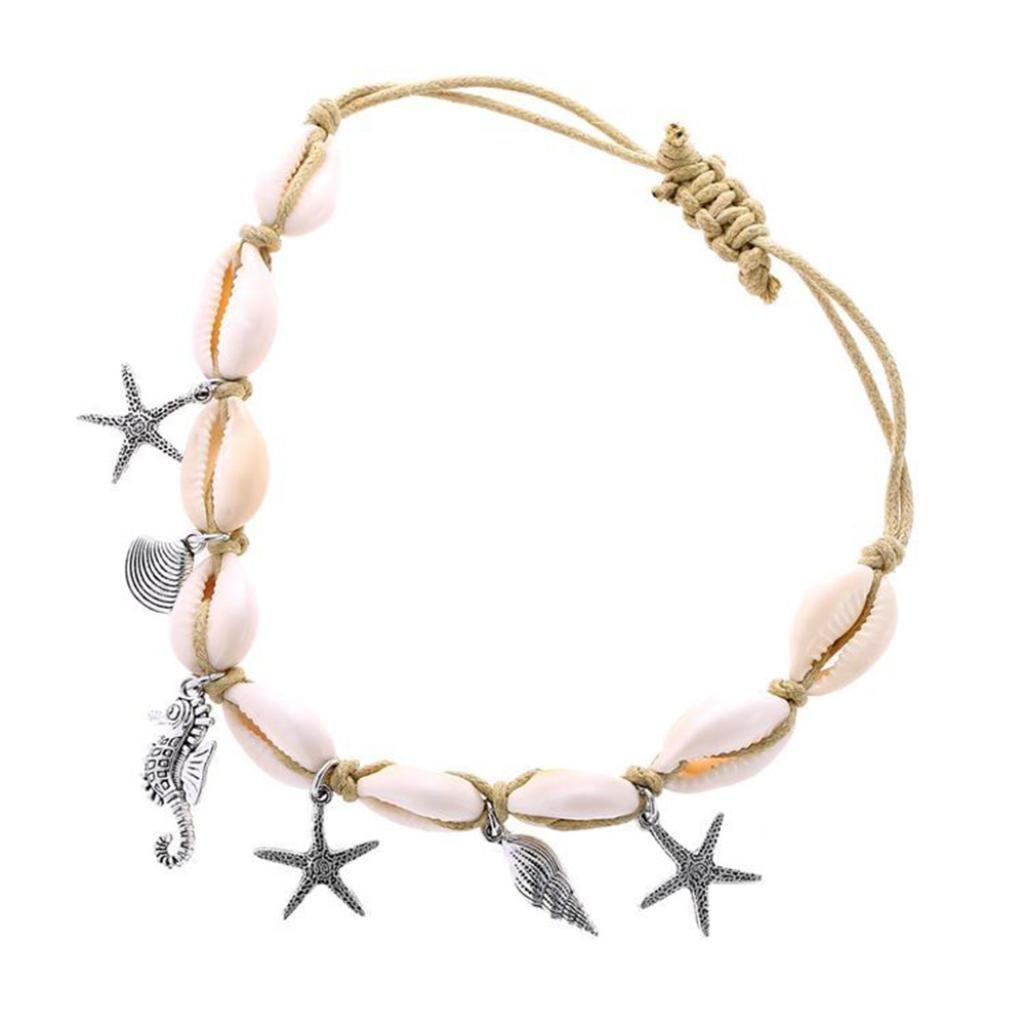 Paolian Femme Bracelets de cheville Coquillage perlé Bracelet de Pied Pendentif Créatif Accessoires 123 SB-111