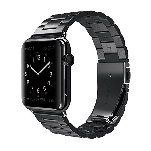Stainless Steel Smart Watch Replacement Band Compatible for Apple iWatch Series 3/2/1 Nike+ Sport Edition Apple Watch Band - 38mm Black (Best English Metal Bands)