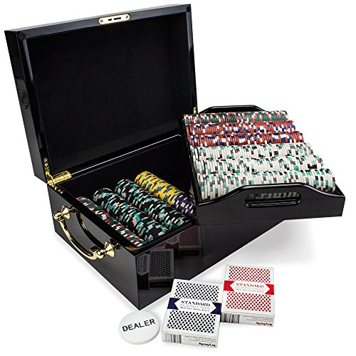 500ct Showdown Poker Chip Set in Black Mahogany Carry Case, 13.5-gram Heavyweight Clay Composite by Claysmith Gaming 1000 Piece Aluminum Poker Case