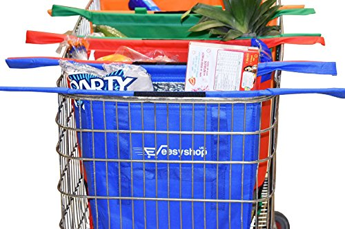 Easy Shop USA - Reusable Shopping Cart Trolley Bags –Compact – Foldable-Sturdy And Eco-Friendly – Easily Organize Groceries And Make Checkout A Breeze - FREE BONUS EBOOK WITH EVERY ORDER.