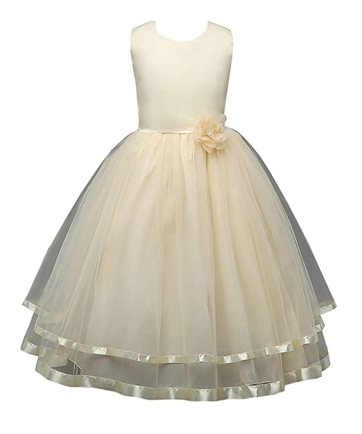 Niñas Princesa Vestidos Para Fiesta Del Boda sin Mangas Largos Elegante Vestido de comunion 110cm Amarillo