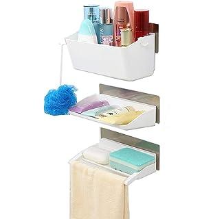 Cloudwalk Ducha baño Estante Pared Adhesivas Organizadores sin 3 Taladro Cesto Plástico