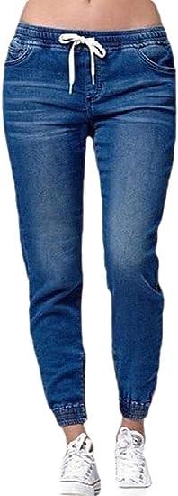 Qiangjinjiu Women's Elastic Waist Casual Distressed Cuffed Jeans Denim Jeans Pants