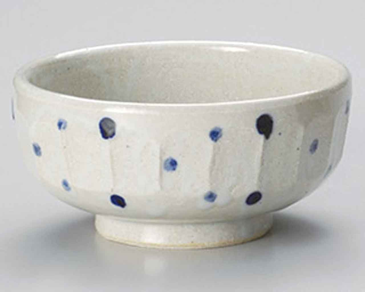 Blue Dots 6.7inch Set of 10 Ramen-Bowls White Ceramic Made in Japan
