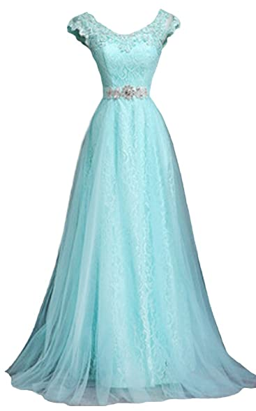 Generic Womens V Neck Cap Sleeve Lace Evening Gowns Party Prom Dress, Lake Blue,