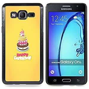 Cake Happy Birthday Yellow Sweet Caja protectora de pl??stico duro Dise?¡Àado King Case For Samsung Galaxy On5 SM-G550FY G550