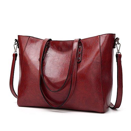 GWQGZ Nuevo Bolso De Mujer Europeo Y Americano Bolso De Moda De Gran Capacidad Satchel Bag Café Gules