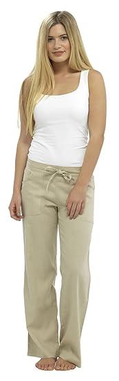 Damen Gesamtlänge Leinenhose