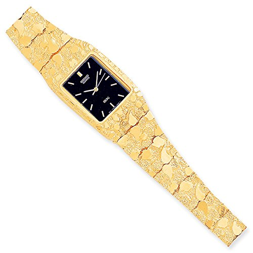10k Black 27x47mm Dial Square Face Nugget Watch
