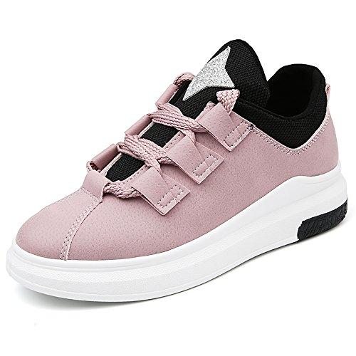 NGRDX&G Zapatillas De Deporte De Las Mujeres De La Llegada Zapatos Planos Ocasionales Respirables Del Dedo Del Pie Zapatos De La Plataforma Del Estudiante Planos Lace Up Ladies Shoe pink