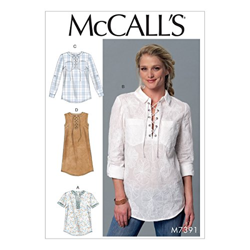 Sewing Patterns Blouses (M7391 Misses' Laced or Split-Neck Tops and Dress (SIZE 16-26) SEWING PATTERN)