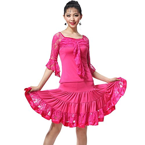 Dance Modern Costumes (YC WELL Women Latin Dance Performance Clothing Modern Waltz Tango Latin Dance Costume Party Stage(rose,L))