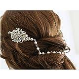 Gatsby Inspired Bridal Headpiece Pearl Crystal Hair Pins 1920 Head Drape Back Chain Bohemian Head Dress Downton Abbey Side Hair Comb