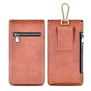 HITFIT Phone Leather Bag Belt Pouch Waist Bag Large Capacity Zipper Wallet with Card Slots for vivo X60 Pro 5G / vivo…