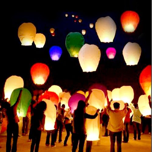 Porpora Sky Flying lanterns Multi-Color (50) Pack - Ready to Use and Eco Friendly - 100% Biodegradable - Beautiful Sky Lantern for Special Occasions, Weddings.
