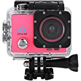 Acouto Sports Action Camera,4k 12MP front Flash Camcorder 140°Angle with Remote Controller,Waterproof Housing Case,Adapter Bracket,USB Cable,US Plug and more Accessories Kits (Pink)
