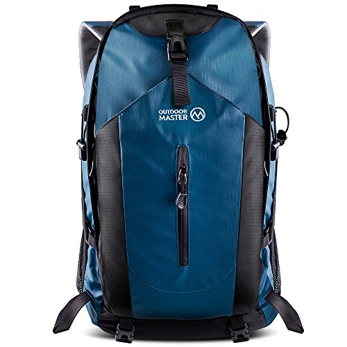 OutdoorMaster Hiking Backpack 50L - Hiking & Travel Carry-On Backpack w/Waterproof Rain Cover - for Hiking, Traveling & Camping - Blue - UPGRADED