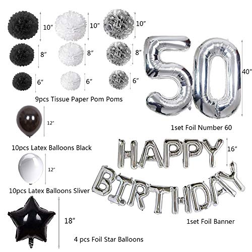 50 Birthday Decorations For Men Puchod Happy Balloons Party Supplies Set Foil Latex