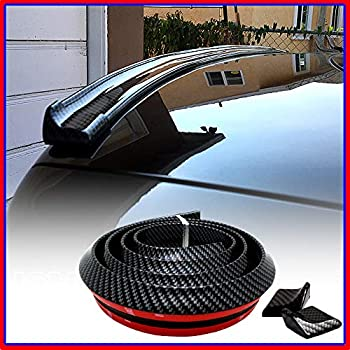 Native Gear Universal Rubber Trunk or Rear Roof Lip Spoiler with Glossy Stylish Carbon Fiber Pattern