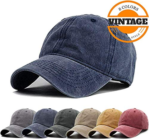 (Unisex Vintage Washed Distressed Baseball Cap Twill Adjustable Dad Hat, H-navy, One Size)