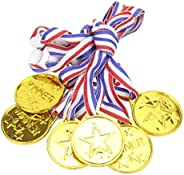 STOBOK Kids Gold Award Medal Plastic Winner Medals for Sports Competitions Matches Party Favors,24 Pieces