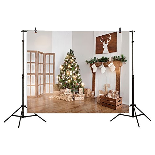 Allenjoy 7x5ft Polyester Backdrop Shiny Christmas tree Wooden Screen Raindeer Indoor Fireplace Background for Photography or Decoration (Decorations Raindeer)