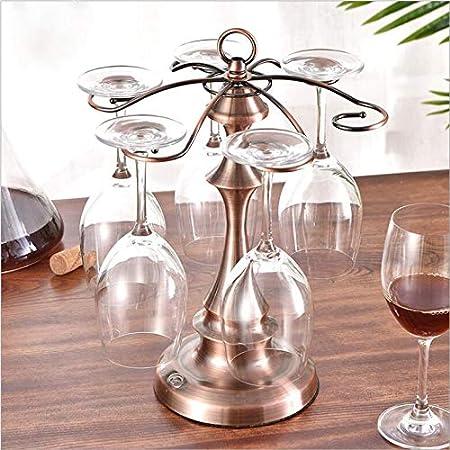 ADM6 Botellero sobre Encimera, Botellero con Soporte para Copa De Vino, Botellero Decorativo Independiente De 6 Botellas,Bronce