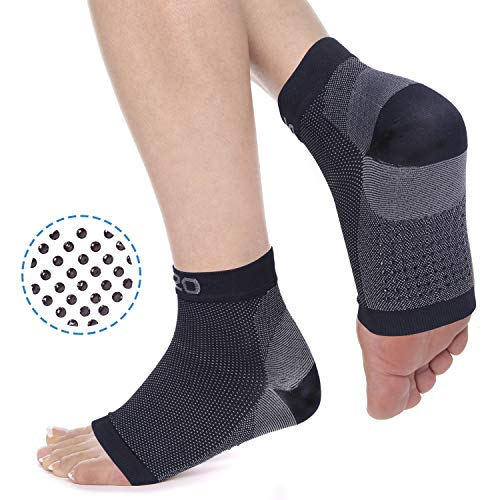 2U2O Toeless Yoga Socks, Non Slip Compression Foot Sleeves for Ballet, Yoga, Pilates, Barre, Eases Arch Pain, Swelling, and Achilles Tendon, Sticky Grip Sock for Women or Men.