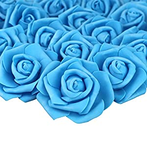 Lightingsky 7cm DIY Real Touch 3D Artificial Foam Rose Head Without Stem for Wedding Party Home Decoration (100pcs, Deep Blue)