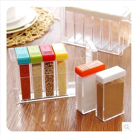 A  amp; T Plastic Crystal Condiment Box Seasoning Pepper Salt Spice Rack   Set of 6 Lunch Boxes