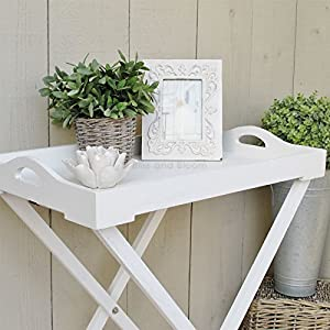 White Wooden Butler Tray On Stand