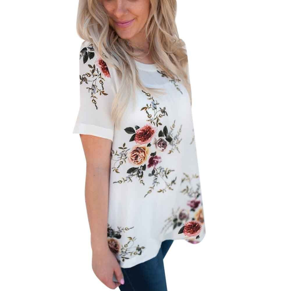 Wugeshangmao T-Shirt for Women Fashion, Girls' Casual Short Sleeve Floral Printing Loose Tops Blouse Tee Tunic White