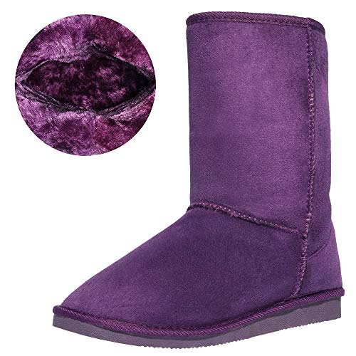 CINAK Women's Resistant Snow Warm Boots Gift Fashion Christmas Short Boots Suede Mid-Calf Boots (9-9.5 B(M) US/ CN41 / 10'', Dark Purple)