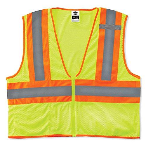 (Ergodyne GloWear 8229Z ANSI Economy Two-Tone High Visibility Lime Safety Vest, 2XL/3XL )