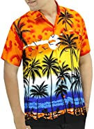 La Leela Hawaiian Shirt For Men Short Sleeve Front-Pocket Palm Tree Print Orange