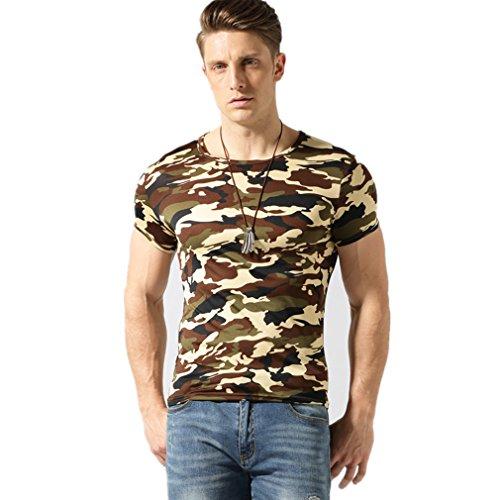 PINSHANGBAISI Mens Camouflage T Shirts, Slim Fit Soft Cotton Short Sleeve Camo T-Shirts (XL, Desert Camo)