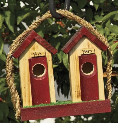 - Birdhouse - His and Hers Outhouse Birdhouses - Small Amish Handmade Matching Small His and Hers Outhouse Country Birdhouses: These Will Enhance Any Country Rustic Setting. These Wooden Birdhouses Will Fit Inside Your Home As Decor or on the Porch or in a Garden Landscape Where Small Birds Can Use Them for Nesting. Delight the Bird Lover with This Handmade Gift! This Is an Awesome Wedding Present. Measures 4.5 X 8 X 7.5