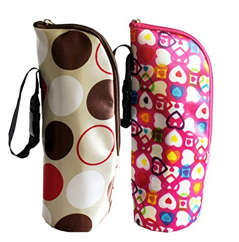 iSuperb 2 Pack Baby Bottle Tote Bags Nursing Bottle Cooler Warmer Insulated Bag for Travel Stroller 3.1x3.1x9.5inch (Floral Print)