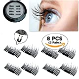 Updated New False Magnetic Eyelashes, Ultra Thin Magnets, 3D Reusable Fiber, 2 Pairs 8 Pieces