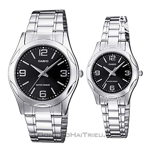 Casio His & Her Black Dial Stainless Steel Band Couple Watch [MTP/LTP-1275D-1A2]