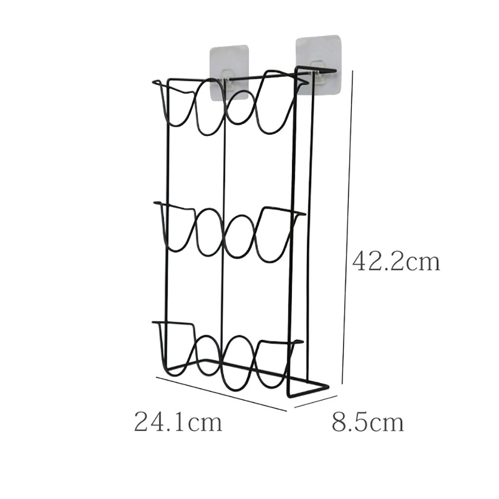 LQQGXL Shoe Rack Organizer Storage, Wrought Iron Bathroom Slippers, Wall-Hanging, Free Punch, Creative Wall Mount Simple Storage Rack. (Color : Black)